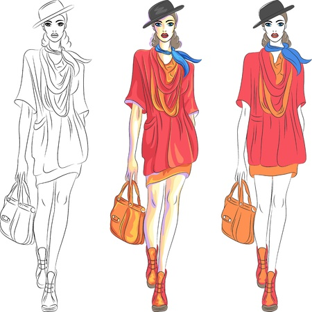 short dress: set beautiful fashion girl top model in three versions: the first - a sketch, the second - simple colors, the third - with shades
