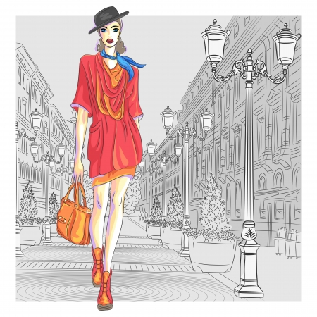 Attractive fashion girl in hat with bag in sketch-style goes for St  Petersburg Ilustrace