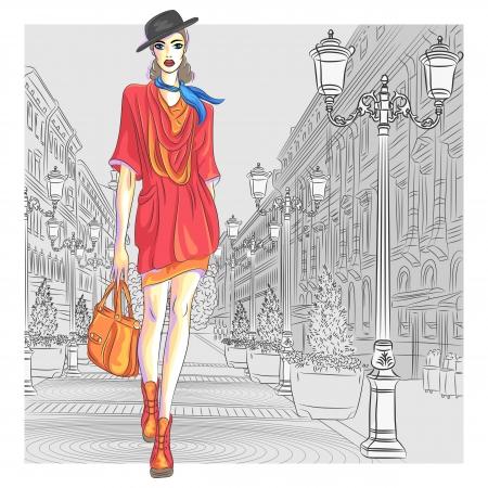mujeres fashion: Muchacha atractiva en el sombrero con el bolso en el estilo de dibujo va para San Petersburgo