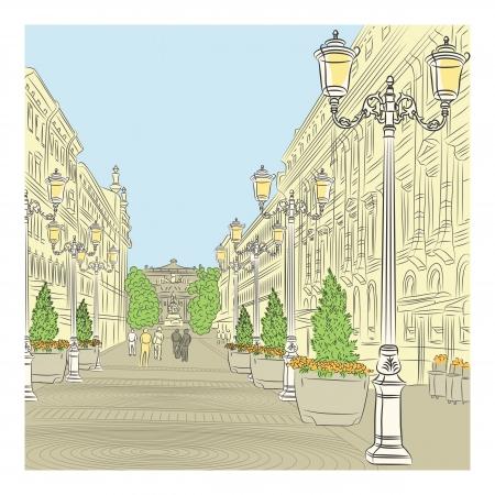 도시 풍경, 세인트 피터스 버그, 러시아 빈티지 건물과 아름다운 등불 넓은 길 일러스트