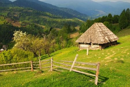 carpathian mountains: Spring morning landscape with the picturesque little farm in the Carpathian Mountains, Mizhhiria