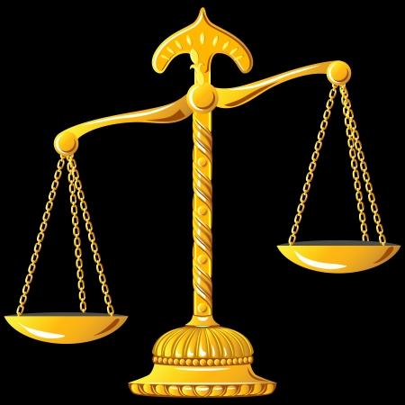unbalanced: gold scales unbalanced isolated on black background Illustration