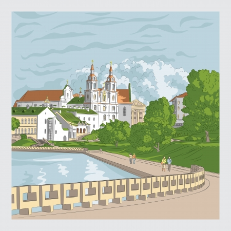 waterfront: Vector sketch of a old town, cityscape with church and river, Trinity Suburb, Minsk, Belarus