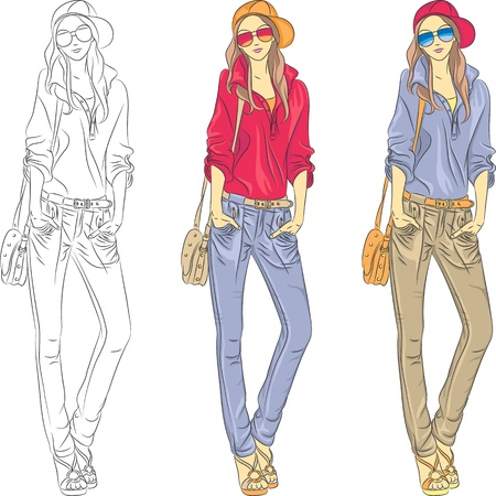 top model: Vector set beautiful fashion girls top models  in jeans, shirt, cap with glasses and bag in three color combinations
