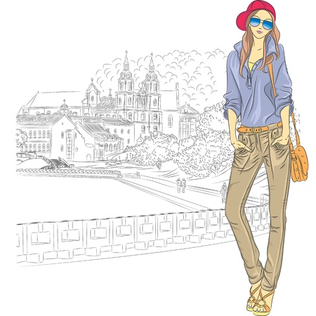 church window: Vector sketch of a fashion stylish girl in jeans, jacket, cap with glasses and bag in the old city, Trinity Suburb, Minsk, Belarus Illustration