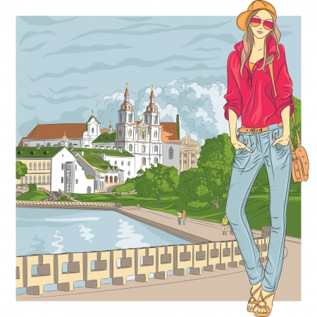 Vector sketch of a fashion stylish girl in jeans, jacket, cap with glasses and bag in the old city, Trinity Suburb, Minsk, Belarus Vector