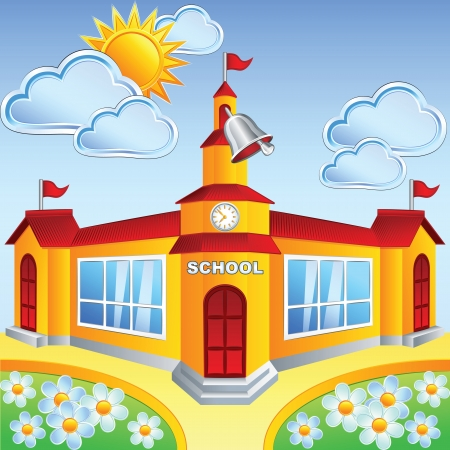 Vector cartoon school  building on a sunny day, rings a bell Illustration