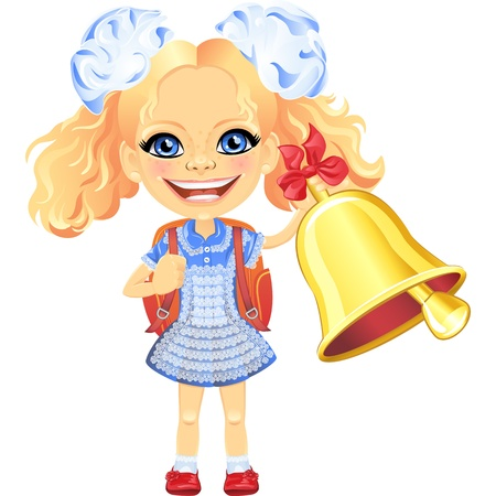 vector girl: Vector Smiling happy girl in a blue school dress with a school bag, rings the bell Illustration