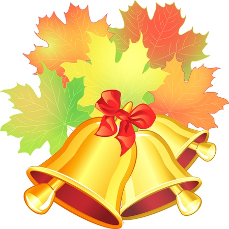 Vector autumn scene with a red, green, yellow, orange maple leaf and the school bell on the white background Illustration