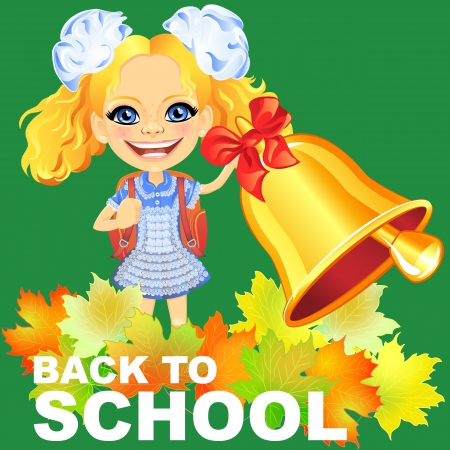Vector Smiling happy girl in a blue school dress with a school bag, rings the bell Illustration