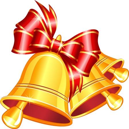Vector gouden jingle bells met rode strik op een witte achtergrond. Stock Illustratie