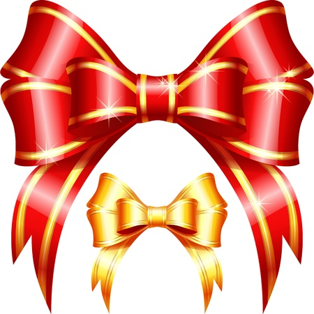 Vector red and gold gift bow and ribbon on the white background Vector