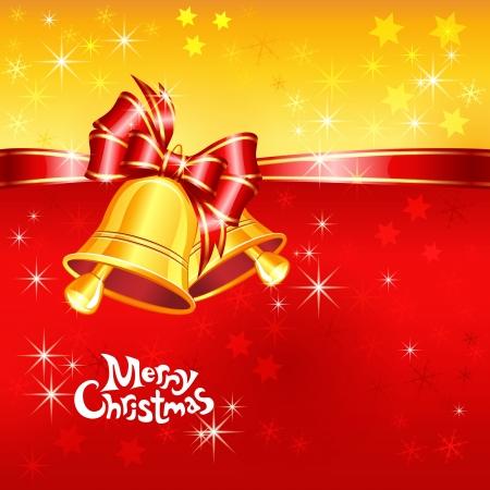 Vector rode en gouden wenskaart met kerst klokken, boog en sneeuwvlokken Stock Illustratie