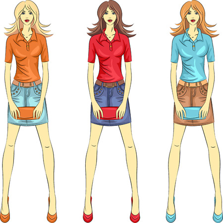 jeans skirt: set beautiful fashion girls top model with clutches in three color combinations Illustration