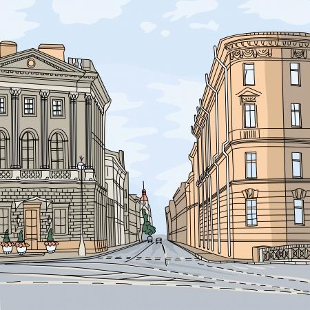 都市景観、市内中心部に位置し、サンクトペテルブルグ、ロシアの広い通り  イラスト・ベクター素材