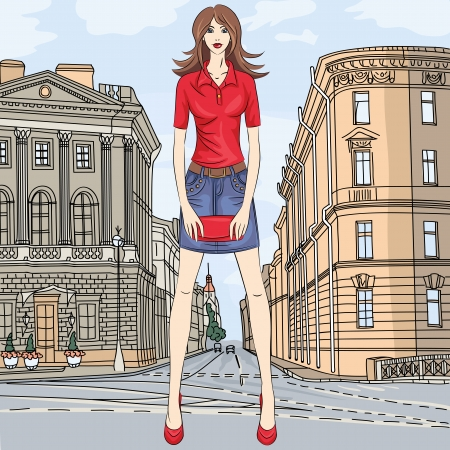 st  petersburg: fashionable attractive girl in a short skirt and a clutch bag in the street in St. Petersburg
