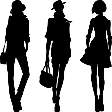 set 1 silhouette of fashion girls top models  Vector