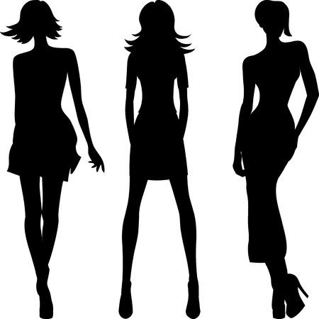 セット 2 のシルエットのファッションの女の子の上位モデル  イラスト・ベクター素材