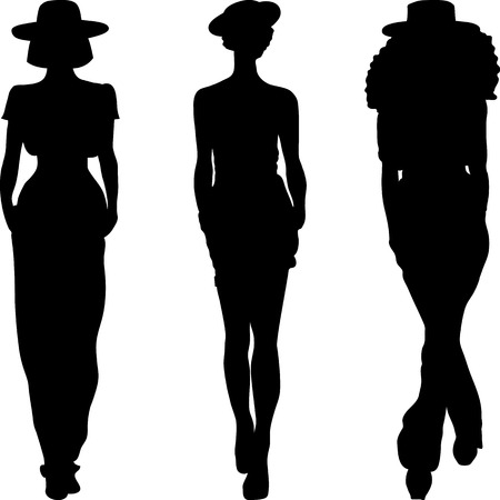 set 3 silhouette of fashion girls top models  Vector