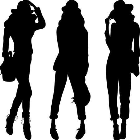 gruppe von menschen: Set 4 Silhouette fashion girls Topmodels