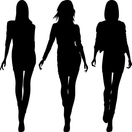 weiblich: Set 5 Silhouette fashion girls Topmodels Illustration