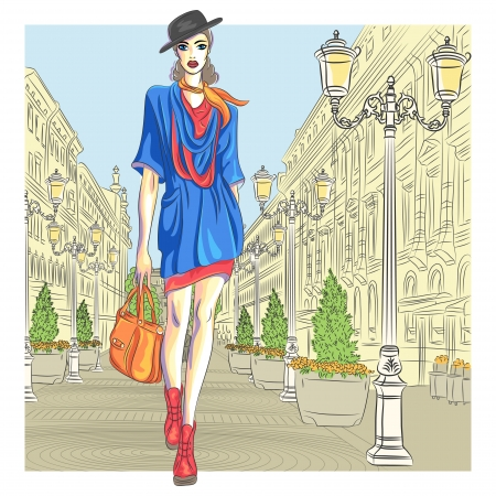 st  petersburg: Attractive fashion girl in hat with bag in sketch-style goes for St. Petersburg