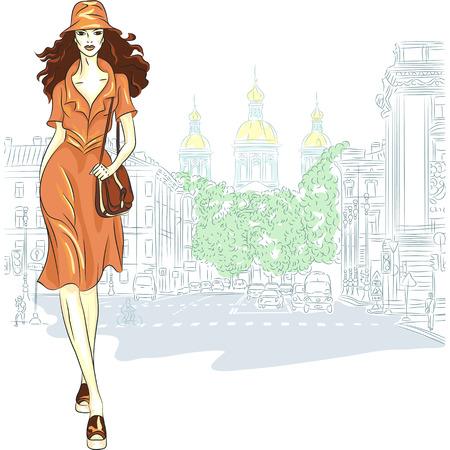 idzie: Lovely girl moda w stylu szkicu idzie do Petersburga