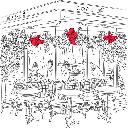 sketch of the Parisian cafe with Christmas decorations