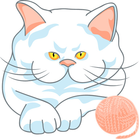 cute white cat with yellow eyes and ball of yarn, isolated on the white background Vector