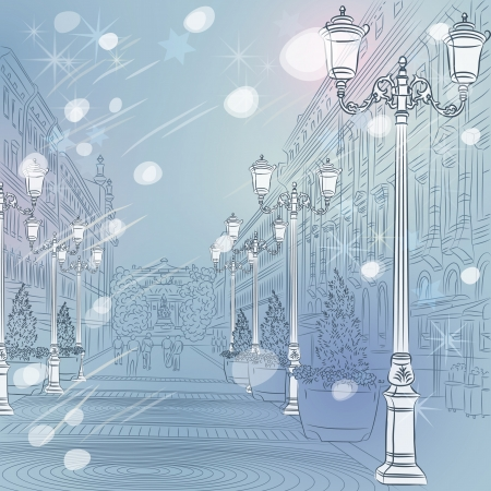 petersburg: winter Christmas Urban landscape, the wide avenue with vintage buildings and beautiful lanterns in St  Petersburg, Russia Illustration
