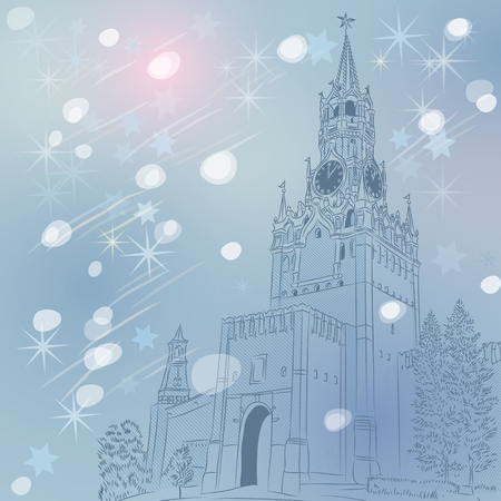 winter Christmas cityscape of the Spasskaya Tower of the Moscow Kremlin, Russia, View from Red Square Vector