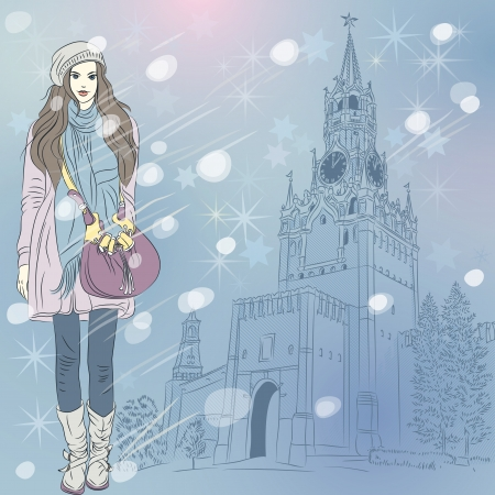 Vector lovely fashion girl in red warm clothes on the Christmas winter cityscape of Moscow Kremlin, Russia Illustration