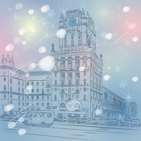 Vector Christmas winter cityscape of a city-center, Station Square, Minsk, Belarus Vector