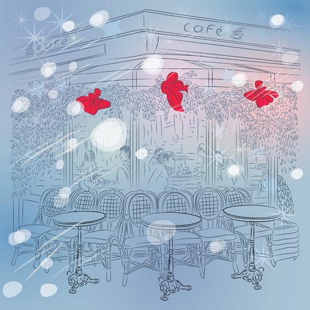 Winter sketch of the Parisian cafe with Christmas decorations Vector