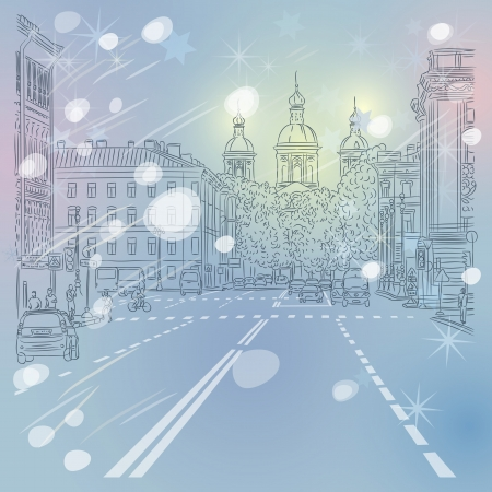 st petersburg: Christmas winter Urban landscape, the wide avenue with views of the church in St. Petersburg, Russia Illustration