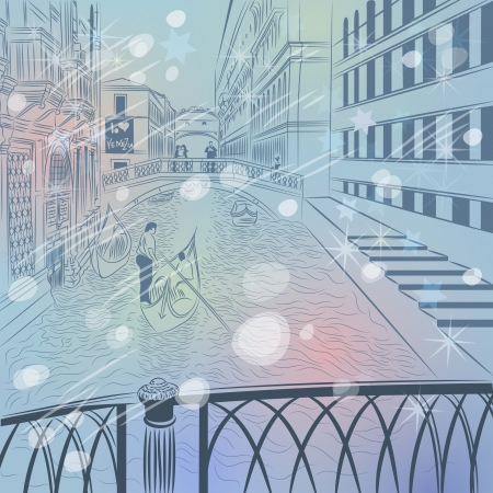 winter Christmas color sketch of a landscape the Bridge of Sighs in Venice Vector