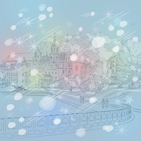 Winter Christmas sketch of a old town Vector