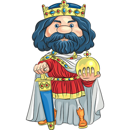 Cartoon King Charles the First in the crown, with the sword and Globus cruciger Vector