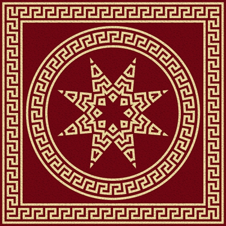 meander: Vector set Traditional vintage golden square and round Greek ornament  Meander  and floral pattern on a red background Illustration