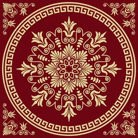 Vector set carré d'or millésime classique et ronde Méandre ornement grecque et motif floral sur un fond rouge Banque d'images - 23861109