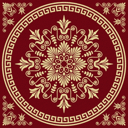 circles circle: Vector set Traditional vintage golden square and round Greek ornament  Meander  and floral pattern on a red background Illustration