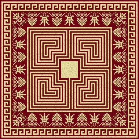 Vector set Traditional vintage golden square and round Greek ornament  Meander  and floral pattern on a red background  イラスト・ベクター素材