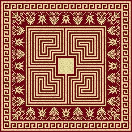 fret: Vector set Traditional vintage golden square and round Greek ornament  Meander  and floral pattern on a red background Illustration