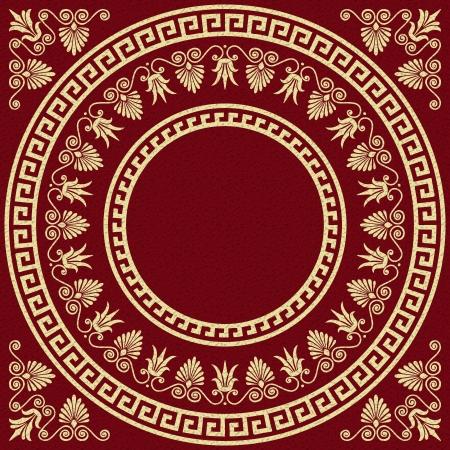 고대: 벡터 빨간색 배경에 전통적인 빈티지 황금 사각형과 원형 그리스어 장식 앤더와 꽃 패턴을 설정 일러스트
