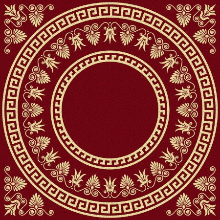 Vector set Traditional vintage golden square and round Greek ornament  Meander  and floral pattern on a red background Illustration