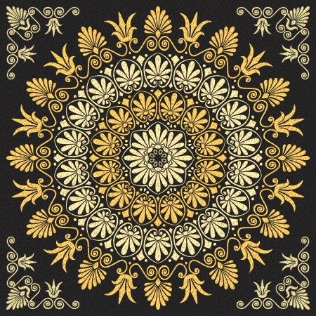 vector set Traditional vintage golden floral Greek ornament on a black background Vector