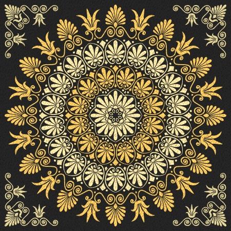 vector set Traditional vintage golden floral Greek ornament on a black background