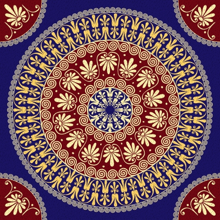 meander: vector seamless Traditional vintage golden round Greek ornament  Meander  and floral pattern on a red and blue background Illustration