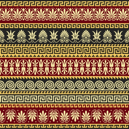 vector set Traditional vintage golden square and round Greek ornament  Meander  and floral pattern on a red and black background Illustration