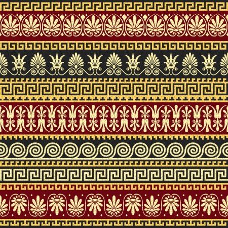 dekorativa mönster: vektor set Traditionell vintage gyllene fyrkant och rund grekisk prydnad Meander och blommiga mönster på en röd och svart bakgrund